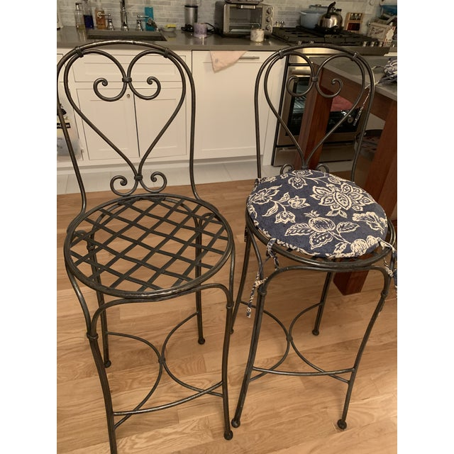 Industrial Wrought Iron Barstools - A Pair For Sale - Image 3 of 9