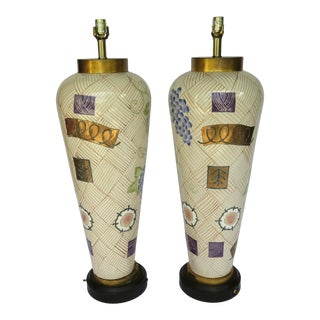 Vintage Monumental Ceramic Italian Gold Leaf Lamps - a Pair For Sale