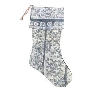 Vintage Silver Batik Christmas Stocking For Sale