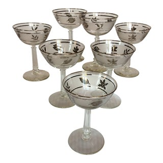 Vintage Libbey Silver Leaf Blown Glass Champagne/Sherbet - Glasses Set of 7 For Sale