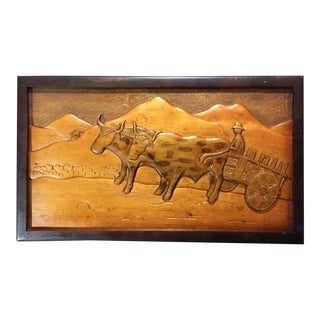 Vintage Wood Carved Farming Scene For Sale