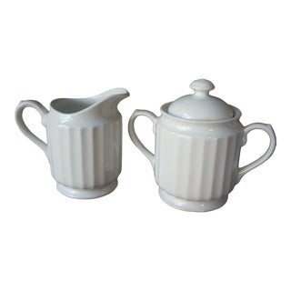 1920s Ironstone Sugar & Creamer - a Pair For Sale