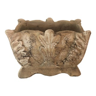 Aged Cast Stone Planter For Sale