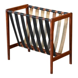 Walnut and Leather Strap Magazine Rack