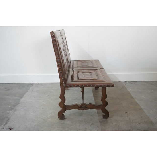 French Decorative Leather Bench For Sale - Image 3 of 12