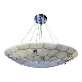 Vintage Faux Alabaster Marble Honeycomb Dish Pendant Light Fixture For Sale