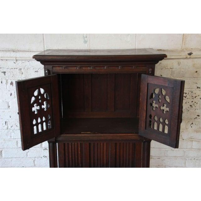 Oak Antique Belgian Dark Oak Gothic Bar Cabinet, Circa 1850s For Sale - Image 7 of 11
