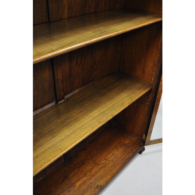 Brown Victorian Oak Glass Two Door Bookcase With Claw Feet Lion For Sale - Image 8 of 13