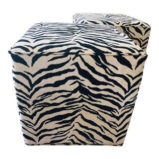 Mid Century Style Faux Zebra Cube Ottomans - a Pair For Sale