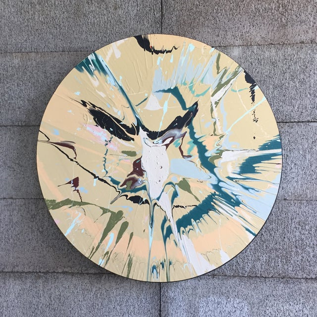 Wood Abstract Tan/Turquoise/Pink Color Field For Sale - Image 7 of 8