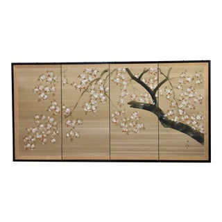 Vintage Four Panel Hand Painted Byobu Folding Screen of Cherry Blossoms For Sale