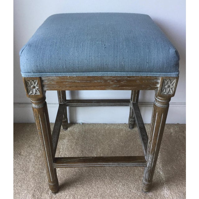 Linen 2 Carved French Linen Upholstered Stools For Sale - Image 7 of 10