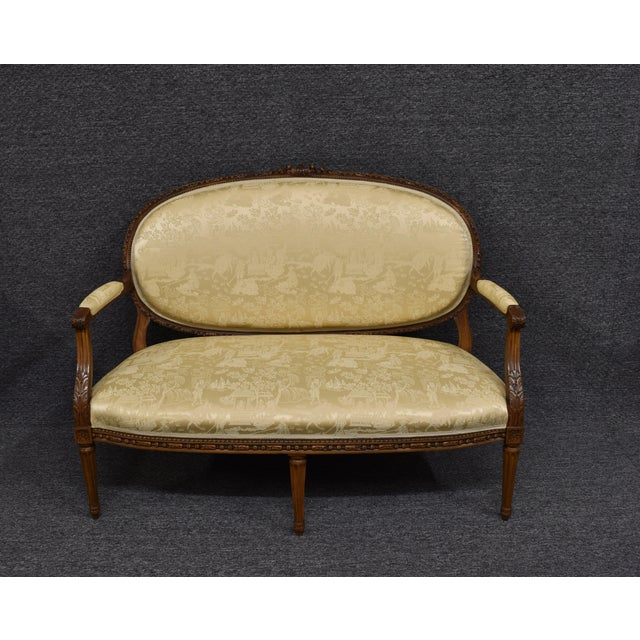 19th Century French Louis XVI Style Carved Chinoiseries Canape Settee For Sale - Image 11 of 12