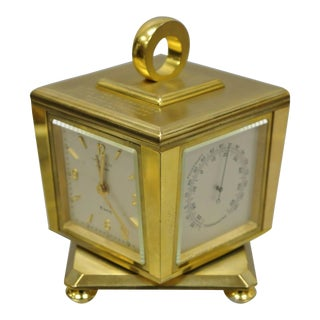 Tiffany & Co. Eight Day Brass Four Caster Revolving Desk Clock For Sale