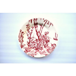 "French Gien & Pierre Deux ""Lafayette"" Pattern Red Americas Toile Plate Preview"
