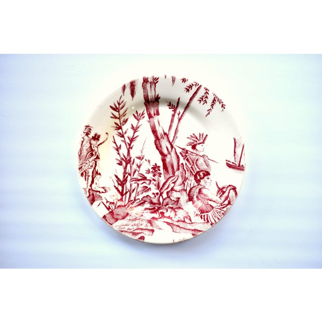 """A vintage French Gien pottery and Pierre Deux design collaboration on a 10 5/6"""" dinner plate or charger in the """"Lafayette""""..."""