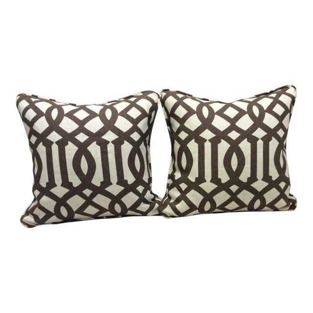 Brown & Neutral Pillows - A Pair For Sale