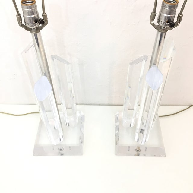Vintage Karl Springer Style Lucite Lamps- A Pair For Sale In New York - Image 6 of 9
