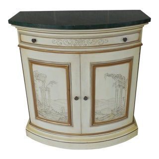 KARGES Custom Paint Decorated Faux Marble Commode Cabinet For Sale