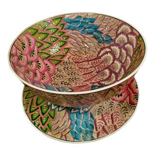 Vintage Chinese Flame Stitch Enamel Ceramic Plate & Bowl Set For Sale