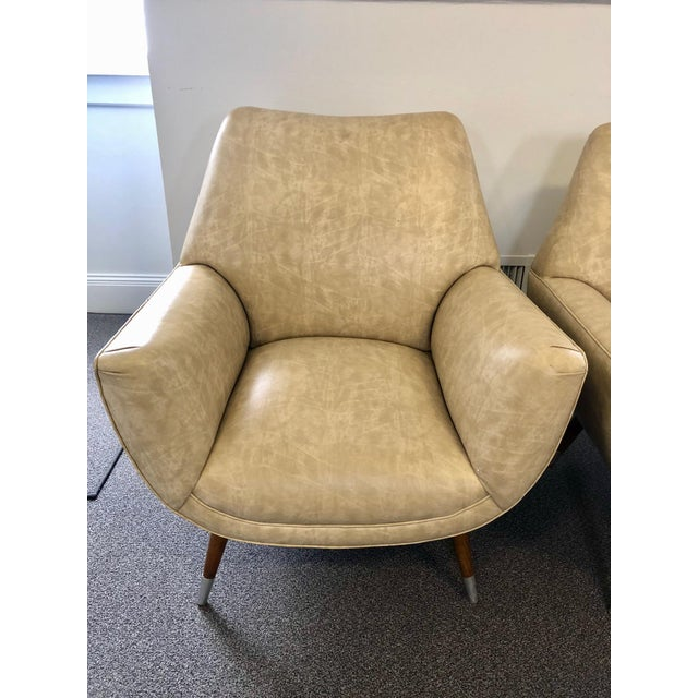 Tan Mid-Century Club Chairs - A Pair For Sale - Image 8 of 10