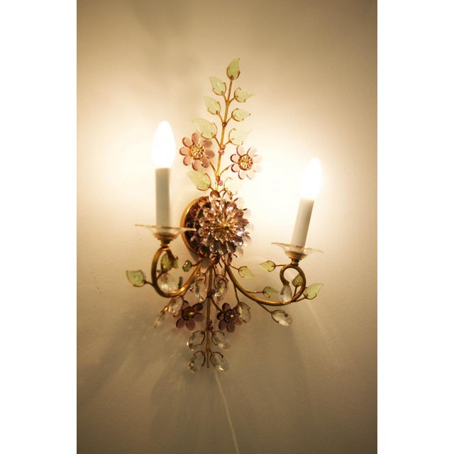 Austrian vintage crystal flowers wall sconce For Sale - Image 9 of 10