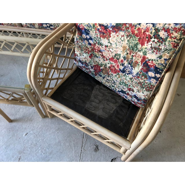 Wood Hollywood Regency Style Rattan/Bamboo Patio Set of 5 For Sale - Image 7 of 9