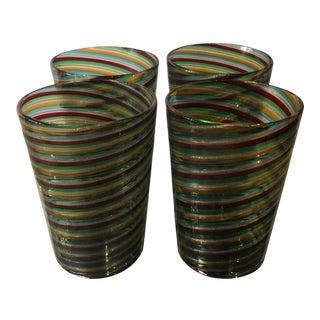 Set of 4 Venini Murano Glass Tumblers For Sale