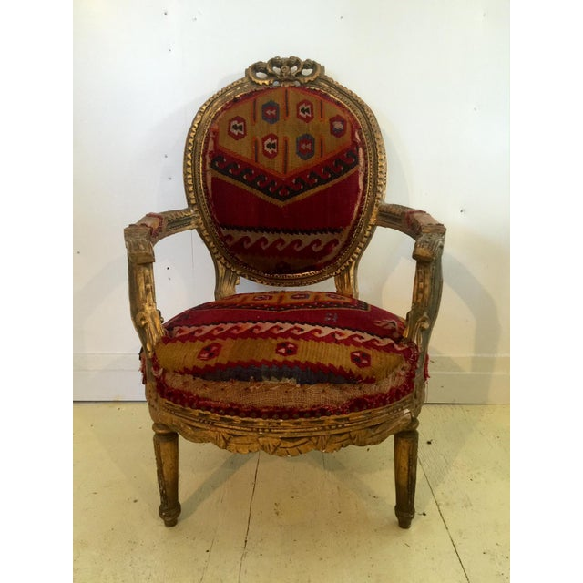 Amazing French Arm Chair Covered in an Antique Turkish Kilim Fabric For Sale - Image 11 of 11