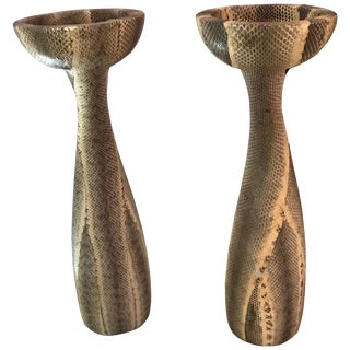 Vintage Snakeskin Candlesticks by Luisa Robison - a Pair For Sale