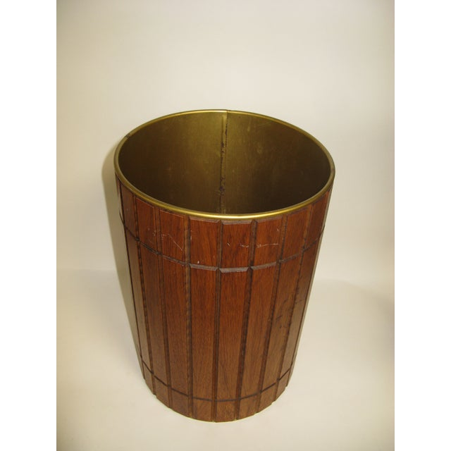 National Furniture Company 1960s Walnut Gruvwood Waste Basket by National Products Inc. For Sale - Image 4 of 10