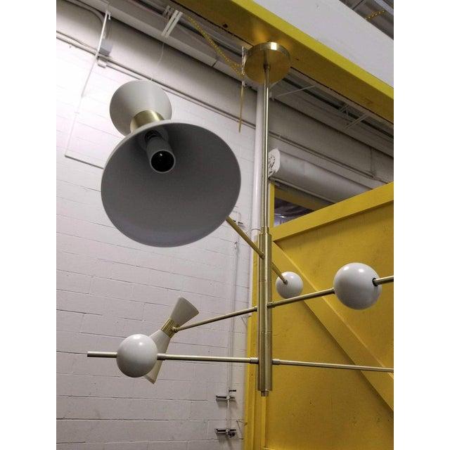 "Blueprint Lighting Mid-Century Modern Blueprint Lighting ""Campana"" Three-Arm White Pendant For Sale - Image 4 of 7"