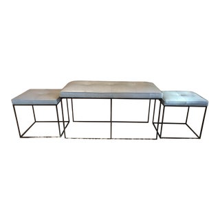 Modern Bench Ottoman & Stools - Set of 3 For Sale