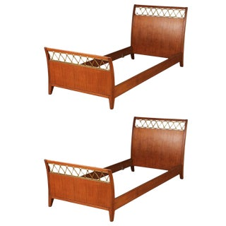 Italian Bronze-Mounted and Mahogany Twin Beds - a Pair For Sale