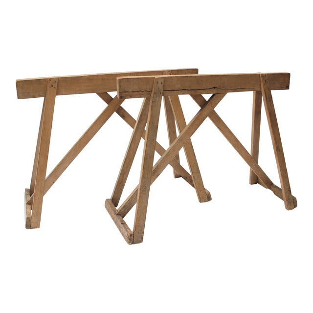 19th Century French Country Wood Saw Horse Table Bases - a Pair For Sale