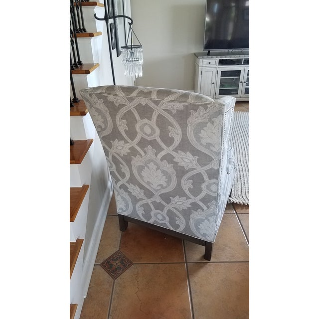 Cotton Lexington Barclay Butera Wing Back Chair & Ottoman For Sale - Image 7 of 10