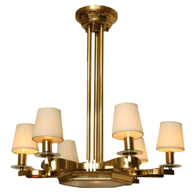 French Brass and Glass Chandelier Inspired by Gilbert Poillerat - Image 1 of 9