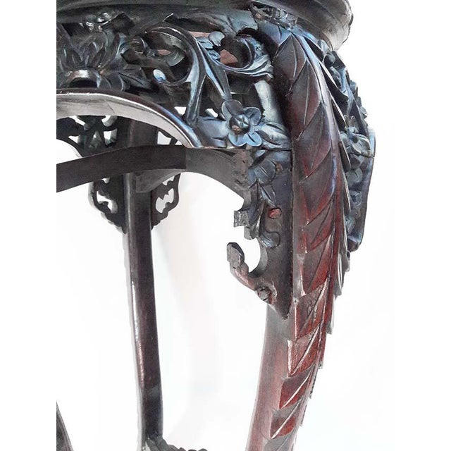 Antique Chinese Carved Rosewood Marble Top Stand For Sale In Los Angeles - Image 6 of 7