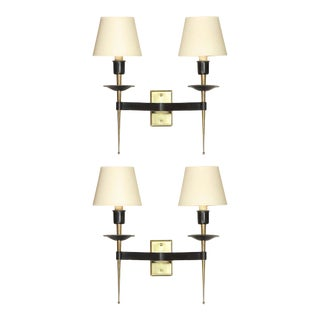French Midcentury Brass and Black Enamel Sconces with Linen Shades - A Pair For Sale