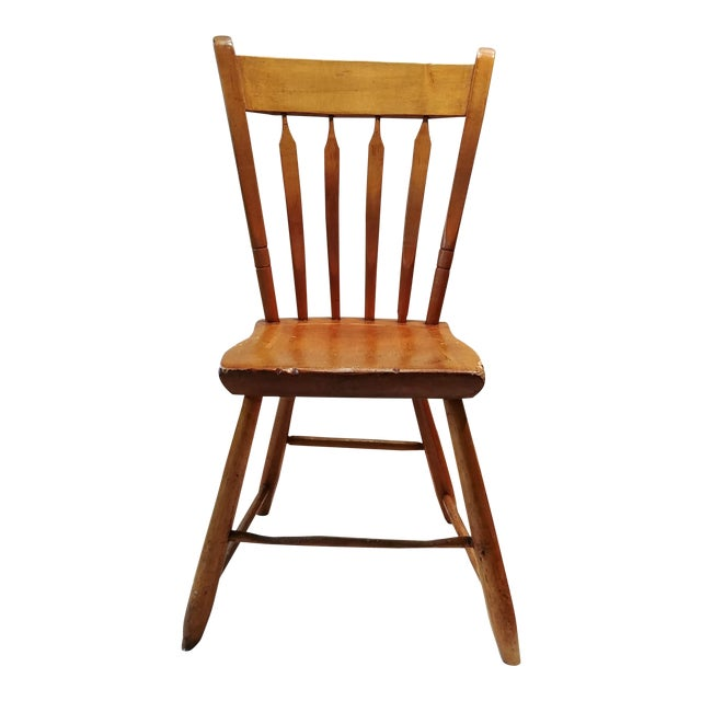American Primitive Maple Thumb Back Chair For Sale