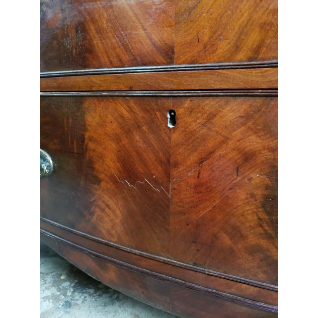 Late 19th Century Georgian English Mahogany 2 Over 3 Bow Front Chest on Bracket Feet For Sale - Image 5 of 13