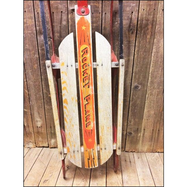 Vintage Weathered Wood & Metal Runner Sled -- Rocket Plane For Sale - Image 11 of 11