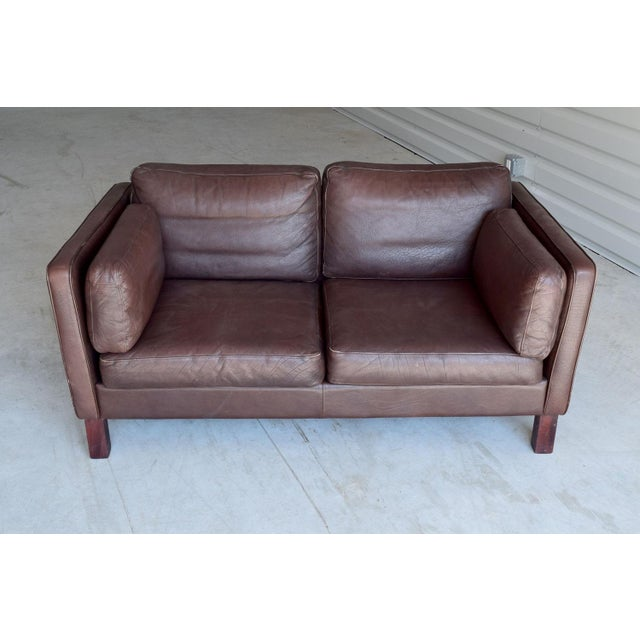 Vintage Danish Leather Loveseat - Image 2 of 4