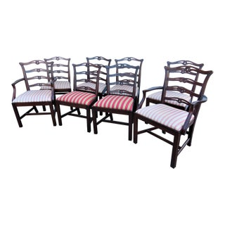 Early 20th Century Solid Mahogany Chippendale Ribbonback Dining Chairs - Set of 8 For Sale