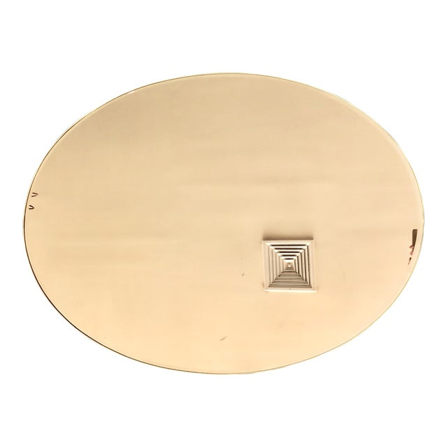 Italian Oval Brass Frame Gold Mirror For Sale
