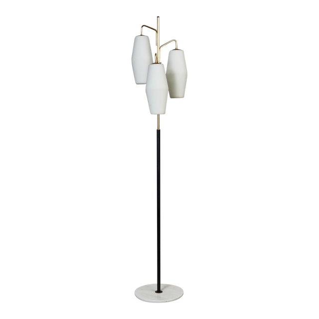 Stilnovo Monumental Floor Lamp in Marble and White Glass, Italy 1950's For Sale