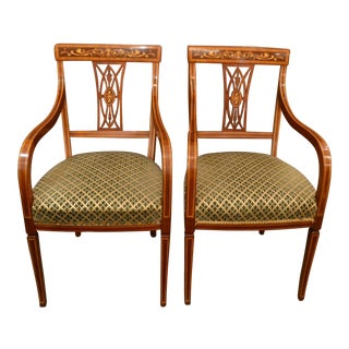 Pair of Antique English Inlaid Mahogany Armchairs circa 1880 For Sale