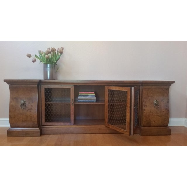 A rare heirloom find! Handmade in America by Tomlinson Furniture, from North Carolina, this beautifully-burled low console...