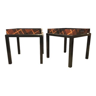 Jonathan Charles Hand Inlaid Butler's Table - a Pair For Sale