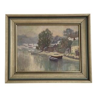 Original Vintage Gloucester Harbor Scene Oil Painting, 1974s